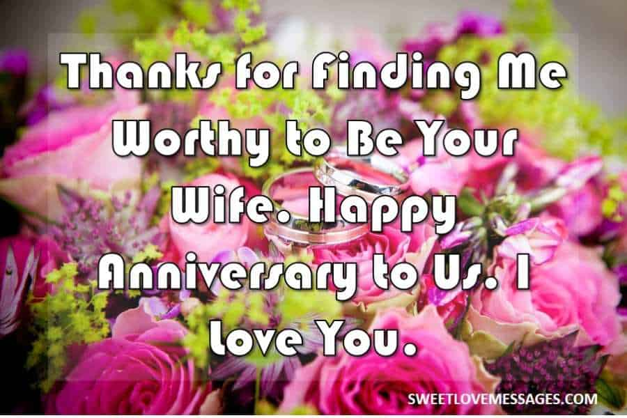 Anniversary Message from Wife to Husband