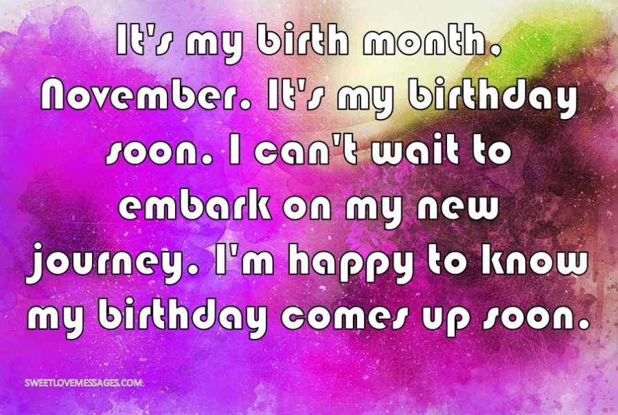 It's my birth month, November