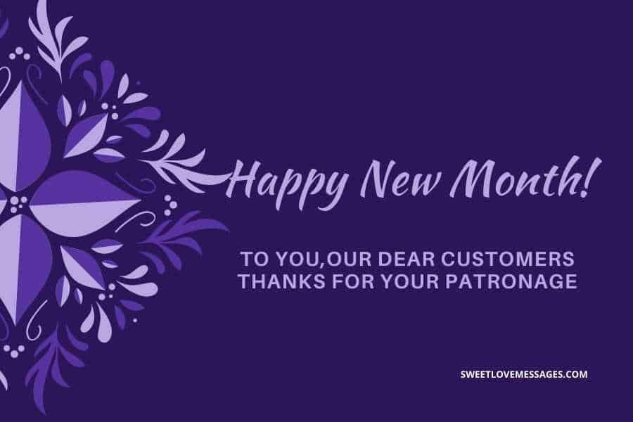 Happy New Month Messages from a Company